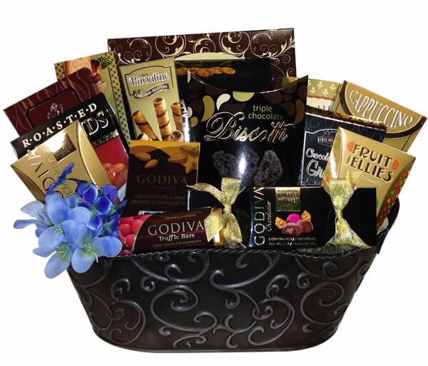 Gift basket with chocolates